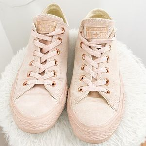 Converse Suede Pink/Rose Gold Sneakers Size 9